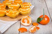 Fresh Baked Mini Clementine Cheesecakes In Muffin Forms
