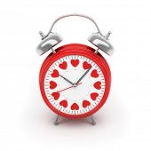 Isolated red clock with hearts on clock face on white background