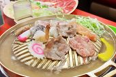 pic of shabu  - sukiyaki on boiler contain with meat and vegetable - JPG
