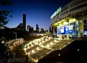 MELBOURNE - JANUARY 27: Rod Laver Arena and Melbourne skyline on the night of the 2013 Australian Op