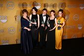LOS ANGELES - JAN 27:  Cast of Downton Abbey pose in the press room at the 2013 Screen Actor's Guild