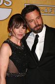 LOS ANGELES - JAN 27:  Clea Duvall, Ben Affleck pose in the press room at the 2013 Screen Actor's Gu
