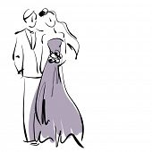 art sketching beautiful young  bride and groom with the bride's bouquet on white background with spa