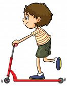 Illustration of a boy playing push bicycle on a white background