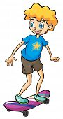 Illustration of a boy playing skateboard on a white background