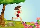 Illustration of a girl running in a beautiful nature