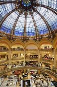PARIS, FRANCE - SEPTEMBER 13: Interior of Les Galeries Lafayette store in Paris, France on September