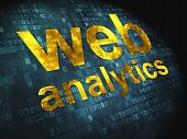 SEO web design concept: Web Analytics on digital background