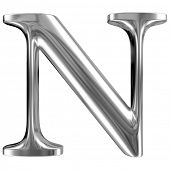 foto of letter n  - Metal Letter N from chrome solid alphabet - JPG