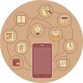 Business Mobility Concept in Brown Circle