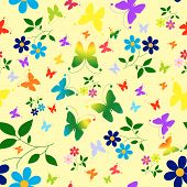 Abstract Seamless Floral Background With Butterflies