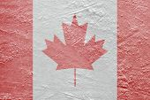 Canadian Flag On The Ice