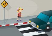 Illustration of a young boy at the pedestrian lane