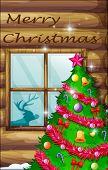 Illustration of a christmas tree near the window