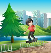 Illustration of a boy skateboarding near the riverbank