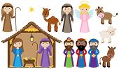 stock photo of nativity scene  - Vector Nativity Collection with animals - JPG