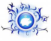 piggybank icon on blue decorative button