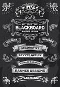Hand drawn blackboard banner vector illustration with texture added. Chalkboard ribbon and banner de