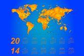 Timezone map - vector color calendar 2014
