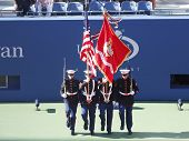 The Color Guard of the US Marine Corps during the opening ceremony of the US Open 2013 women final