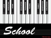 Vector eps concept or conceptual white school text wordcloud or tagcloud as piano keys isolated on b