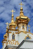 Golden domes At Peterhof Palace