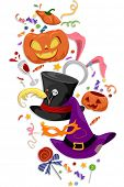 picture of bunny costume  - Illustration Featuring Famous Halloween Icons and Costumes - JPG