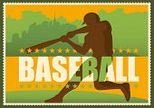 Retro baseball poster in color. Vector illustration.