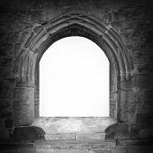 stock photo of entryway  - Gothic stone gate with space for your text - JPG