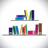 Colorful Collection Books On A Library Shelf - Study Concept Vector