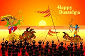 stock photo of navratri  - vector illustration of Rama killing Ravana in Happy Dussehra - JPG