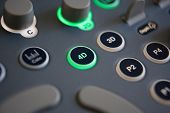 stock photo of ultrasound machine  - Close Up Of Controls On 4D Ultrasound Machine - JPG