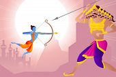 stock photo of ravan  - vector illustration of Rama killing Ravana in Happy Dussehra - JPG