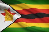 Series Of Ruffled Flags. Republic Of Zimbabwe.