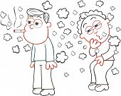 stock photo of cough  - Cartoon man smoking a cigarette while another man is coughing from the smoke - JPG