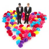 stock photo of queer  - gay wedding in colorful concept isolated over white - JPG