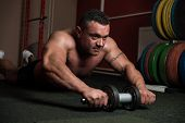 Bodybuilder Doing Abs Exercise