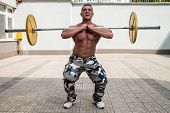 Man Doing Front Squats