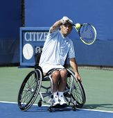 Tennis player David Wagner from USA during his US Open 2013 wheelchair quad singles match