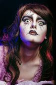 stock photo of wicca  - Girl in the image of a witch with a theatrical make - JPG