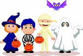 Happy Halloween party with children cartoon trick or treating