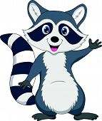 image of raccoon  - Vector illustration of Cute raccoon cartoon waving hand - JPG