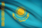 Series Of Ruffled Flags. Republic Of Kazakhstan.