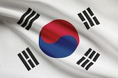 Series Of Ruffled Flags. Republic Of Korea.