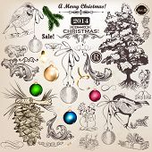 Christmas Set Of Vintage Decorative Elements For Design
