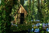 image of wooden shack  - 3D computer graphics of a wooden hut in the forest with blue flowers and tree trunks full of ivy - JPG
