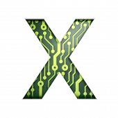 Electric curcuit board letters and numbers collection: X isolate