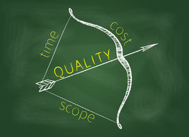 picture of bow arrow  - Project management triangle is shown as a bow with a quality as arrow on a green blackboard - JPG