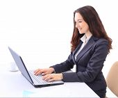 woman in the office for a laptop