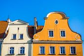 stock photo of tenement  - Attics of ancient tenements in the Main Market of Gliwice - JPG